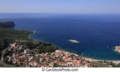 Sveti Stefan, view from the mountain. Montenegro, the...