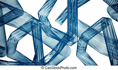 Abstract,moving blue tubes