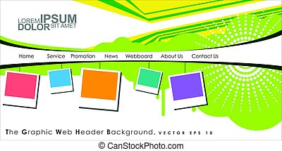 Vector Header Horizontal Web Menu Design.
