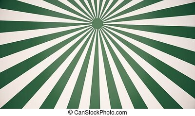 Rotating sunburst in white and green colors
