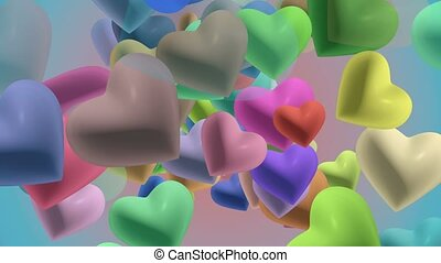 Hearts in various colors