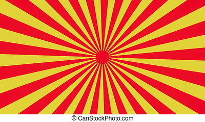 Rotating sunburst in yellow and red colors
