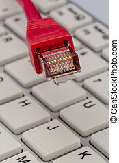 network cable on keyboard, symbol photo for flat rate,...