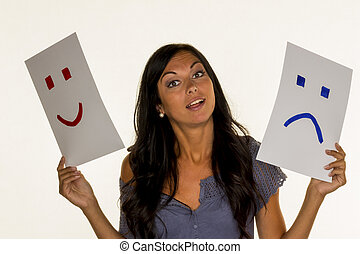 cry or laugh - a woman can not decide whether they should...