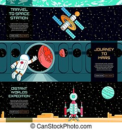 Web banners set on the theme of space. Modern flat...