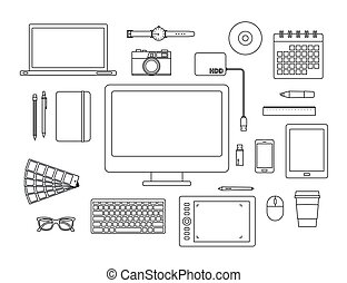 graphic designer items and tools line icon set