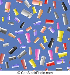 Cosmetic Colored Tubes Seamless Pattern
