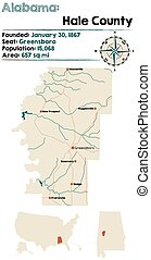 Alabama: Hale county map