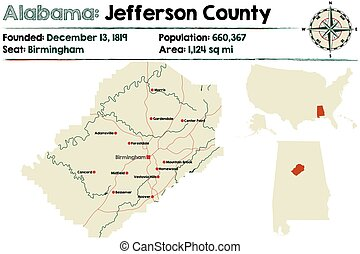 Alabama: Jefferson county map - Large and detailed map of...