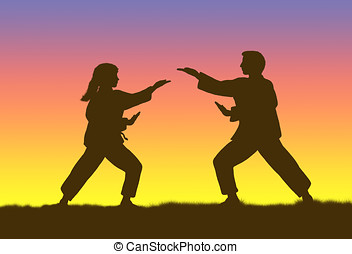 tai-chi - illustration, silhouette of man and woman...