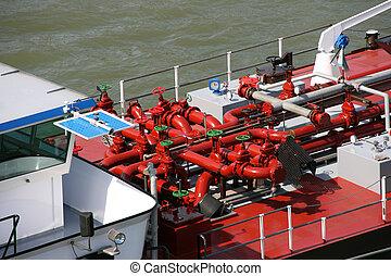 Tanker barge on Rhine river, Germany. Fuel transportation.
