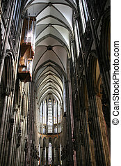 Cologne cathedral of Saint Peter and Mary interior. Famous...