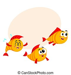 Shoal of three funny golden, yellow fish characters speeding...