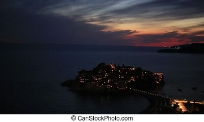 The island of Sveti Stefan at night. Montenegro, the...