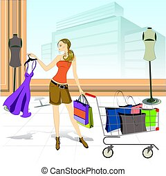 lady with shopping cart and shopping bags