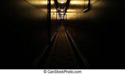 Dark dark corridor in the hotel. Gloomy scene for the film.