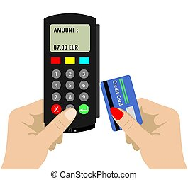 Using pos terminal concept. Flat style - One Hand holding...