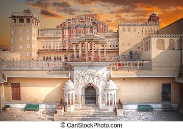Hawa Mahal palace in Jaipur, Rajasthan. Palace of the Winds...