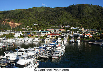 New Zealand - Townscape of Picton, New Zealand. Famous...