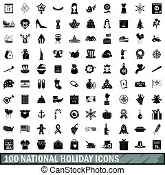 100 national holiday icons set, simple style - 100 national...