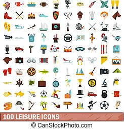 100 leisure icons set, flat style