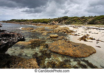 Australia - Jervis Bay in New South Wales. Beach and the...
