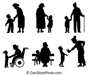 Grandmothers and grandson silhouettes - Vector illustration...