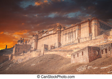 Amber Fort or Amer - fortified residence of Raja in the...