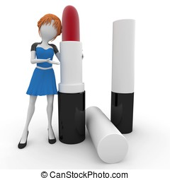 3d girl with lipstick