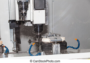 CNC metal processing machine, closeup process of material...