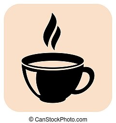 Coffee vector icons - Coffee cups vector icons on a beige...