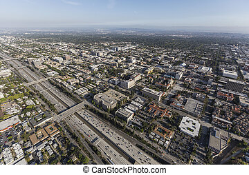 Aerial Pasadena 210 Freeway in California