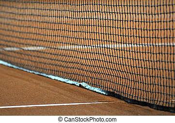 Tennis net and court prepared for a match