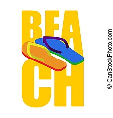 LGBT beach sign. slippers rainbow of color. Summer Shoes Gay and Lesbian Symbol