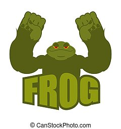 Strong frog. powerful toad with large muscles. Amphibian...
