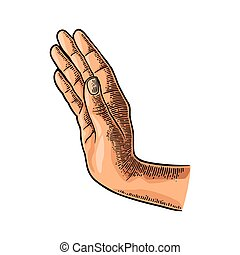 Female hand showing stop gesture. Vector black vintage...