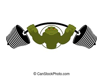 Strong frog. powerful toad with large muscles. Amphibian animal athlete bodybuilder