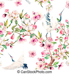 Watercolor crane with flowers pattern