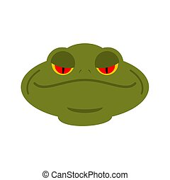 Frog head isolated. face of toad. Amphibian animal
