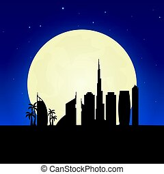 Dubai silhouette of attraction. Travel banner with moon on the night background. Trip to country. Travelling illustration.