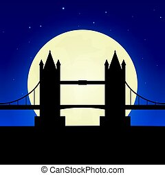 England, London silhouette of attraction. Travel banner with moon on the night background. Trip to country. Travelling illustration.