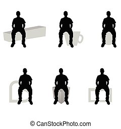 man silhouette sitting on diferent stuff set illustration -...