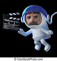 3d Funny cartoon spaceman floats in space with a movie...