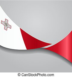 Maltese wavy flag. Vector illustration. - Maltese flag wavy...