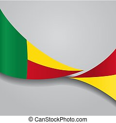 Benin wavy flag. Vector illustration. - Benin flag wavy...