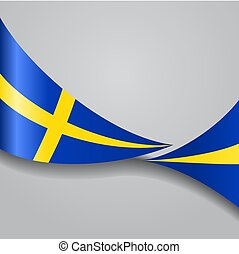 Swedish wavy flag. Vector illustration. - Swedish flag wavy...