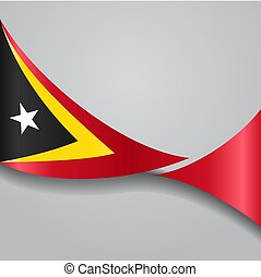 Timor-Leste wavy flag. Vector illustration. - Timor-Leste...