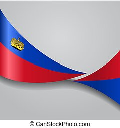 Liechtenstein wavy flag. Vector illustration. -...