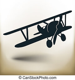 simple old airplane - Simple symbolic image of an old...