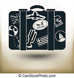 simple labeled suitcase - Simple symbolic image of a...